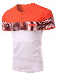 Stripes Round Neck Button Design Color Block Short Sleeves T-Shirt For Men -