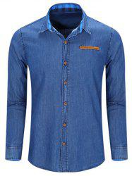 Fashion Turn Down Collar Denim Shirts For Men