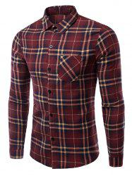 Turn-Down Collar Pocket Checked Pattern Long Sleeves Shirt For Men