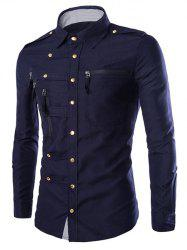 Solid Color Long Sleeves Zip Design Shirts For Men