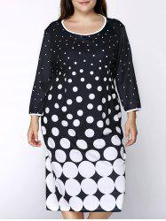 Graceful Round Collar 3/4 Sleeve Polka Dot Plus Size Midi Dress For Women