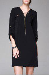 V Neck Double Pockets Dress -