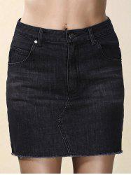 Fashionable Black Denim Pocket Design Mini Skirt For Women
