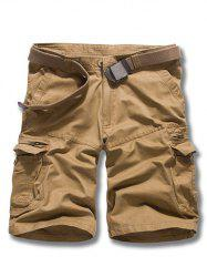 Loose Fit Men solide Couleur d  'Cargo Shorts - Terreux