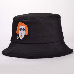Stylish Lady Head Embroidery Funny Bucket Hat -