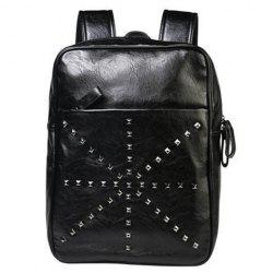 Trendy Rivet and Black Color Design Backpack For Men - BLACK