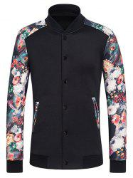 Stand Collar Long Sleeve Rib Spliced Flower Print Button-Up Sweatshirt -
