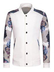 Stand Collar Long Sleeve Rib Spliced Floral Print Button-Up Sweatshirt