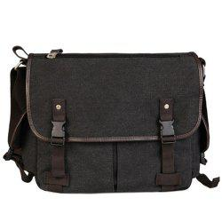 Preppy Canvas and Solid Color Design Messenger Bag For Men - BLACK GREY