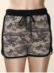 High Waisted Mesh Trim Camouflage Shorts - COLORMIX