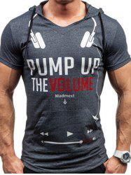 Hooded Headset and Letters Print Short Sleeve T-Shirt For Men -