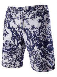 Casual Lace Up Tree Printing Boardshorts For Men -