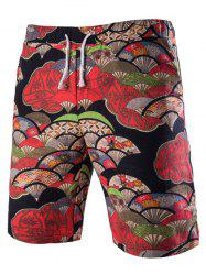 Casual Lace Up Fan Printing Boardshorts For Men -