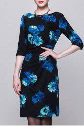 Slash Neck Printed 3/4 Sleeve Dress -