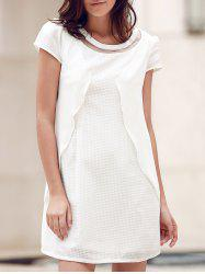 Mesh Inset White Mini Dress -