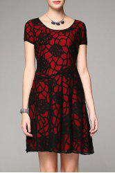 Scoop Neck Floral Pattern A Line Dress -
