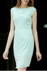 Cap Sleeve Sheath Dress With Slit -