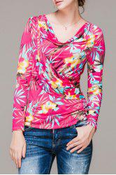Cowl Neck Floral Print Long Sleeve Blouse -