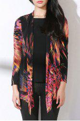 Firework Print Asymmetric Long Sleeve Blouse -