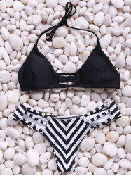Trendy Spaghetti Straps Stripes Bikini Set For Women