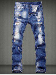 Casual Ripped Straight Legs Denim Pants For Men - DENIM BLUE