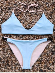 Alluring Halter Neck Contrast Women's Bikini Set - ICE BLUE L