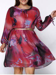 Floral Print Chiffon Plus Size Dress