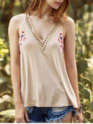 Ethnic Style V Neck Hollow Out Embroidery Tank Top For Women