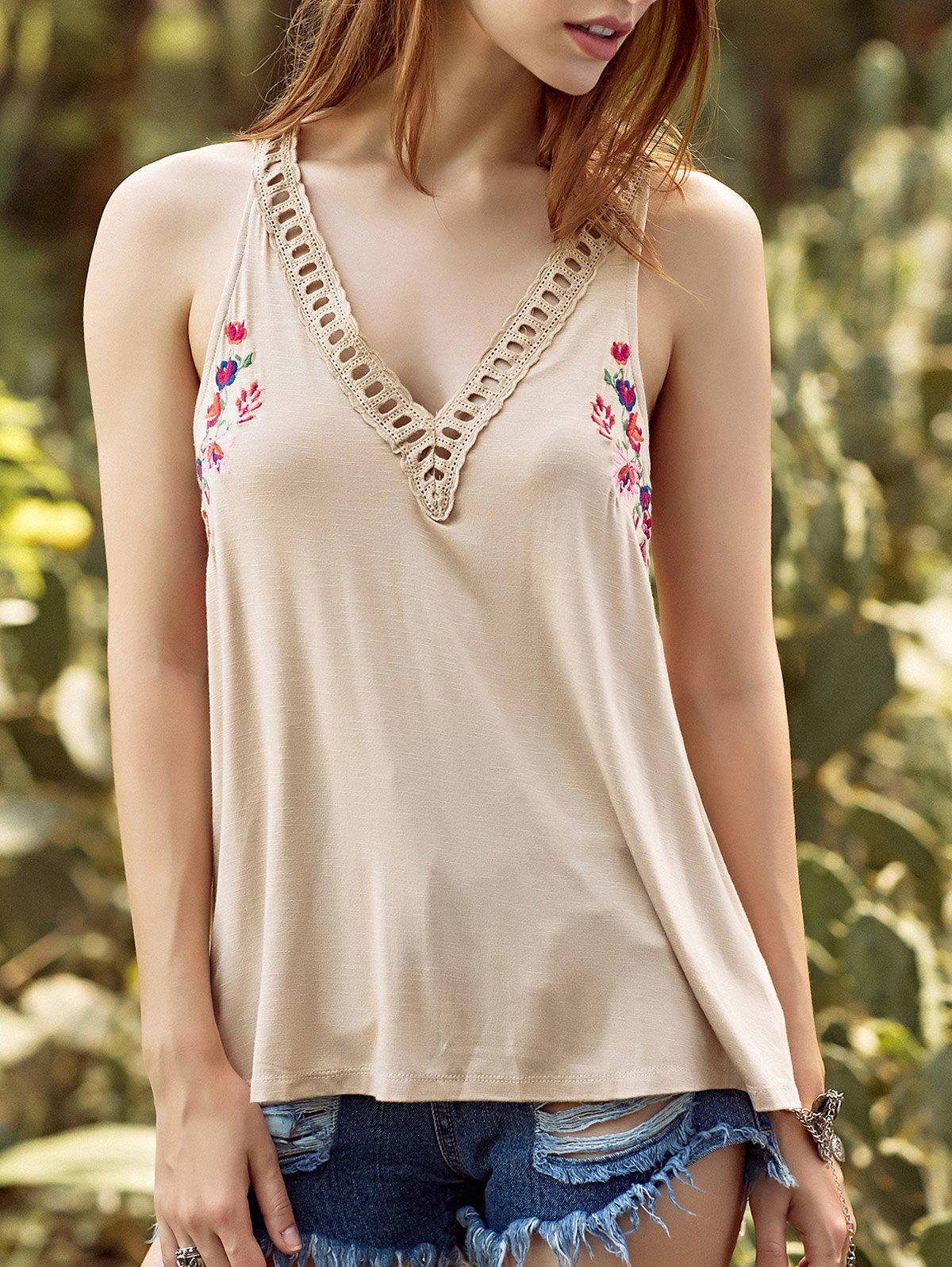 Fashion Ethnic Style V Neck Hollow Out Embroidery Tank Top For Women