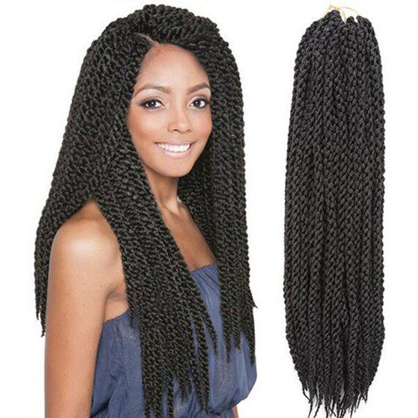 Black Fashion Long Twisted Rope Braid Synthetic Hair Extension For