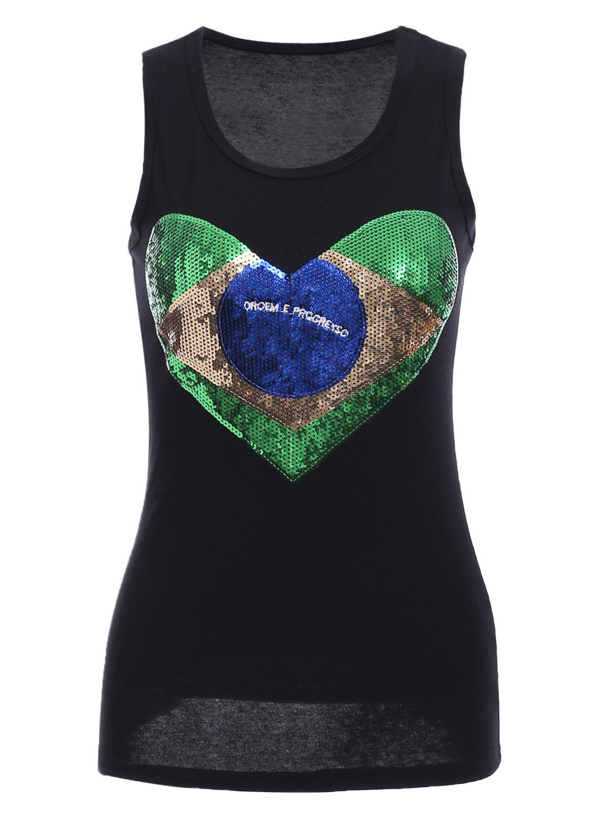 Chic Sequins Graphic Racerback Tank Top
