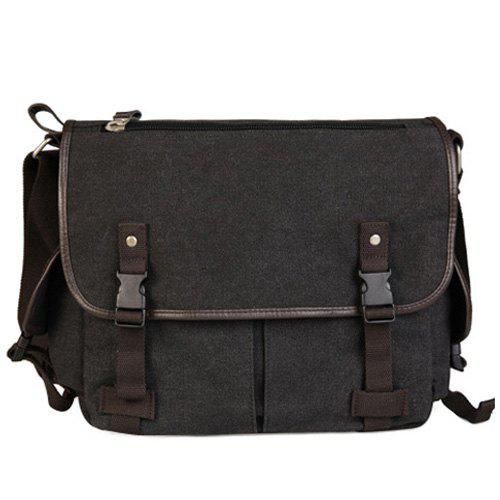 Black Grey Preppy Canvas And Solid Color Design Messenger Bag For ...