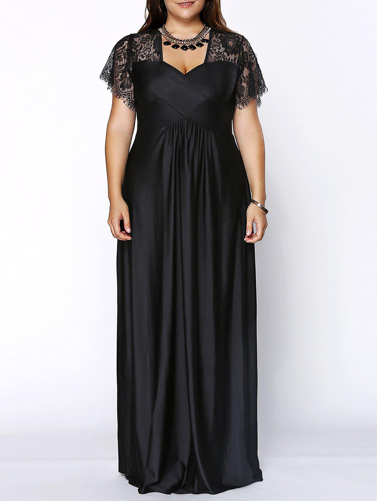 Plus Size Lace Short Sleeve Maxi Evening Party DressWOMEN<br><br>Size: 3XL; Color: BLACK; Style: Brief; Material: Polyester,Spandex; Silhouette: Ball Gown; Dresses Length: Ankle-Length; Neckline: Sweetheart Neck; Sleeve Length: Short Sleeves; Pattern Type: Patchwork; With Belt: No; Season: Summer; Weight: 0.5870kg; Package Contents: 1 x Dress;