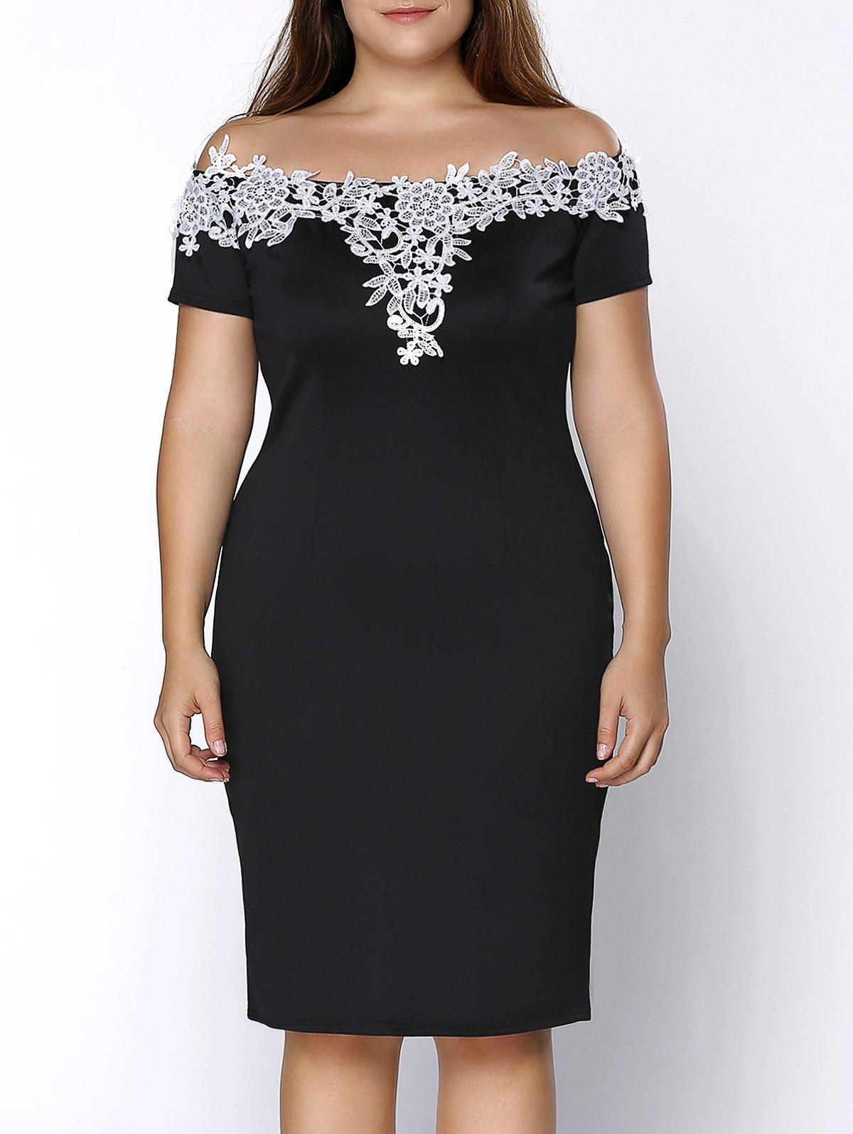 Plus Size Midi Off Shoulder Crochet Insert Party DressWOMEN<br><br>Size: 3XL; Color: BLACK; Style: Brief; Material: Polyester,Spandex; Silhouette: Straight; Dresses Length: Knee-Length; Neckline: Keyhole Neck; Sleeve Length: Short Sleeves; Pattern Type: Patchwork; With Belt: No; Season: Summer; Weight: 0.335kg; Package Contents: 1 x Dress;