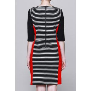 Slash Neck Striped Bodycon Dress -