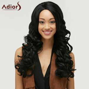 Fashion Long Side Bang Capless Fluffy Curly Black Synthetic Wig For Women