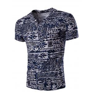 Casual V Neck Abstract Printing Short Sleeves T-Shirt For Men - Colormix - 2xl