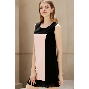 Panelled Pleated Hem Tank Dress -