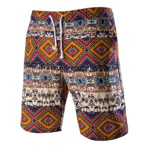 Drawstring Tribal Printed Loose Fit Boardshorts - Red - L