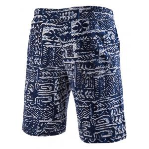 Loose Fit Lace Up Printed Boardshorts -
