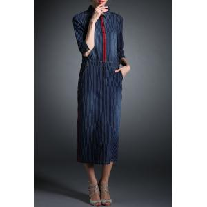 Stripe Maxi Denim Dress -