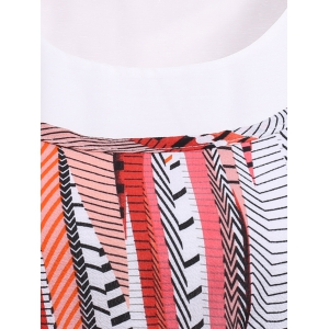 Bohemian Scoop Neck Printed Ruffled Pleated Dress Twinset For Women -