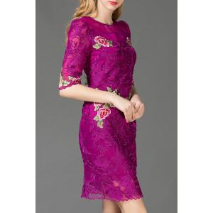 Floral Embroidered Voile Bodycon Dress -