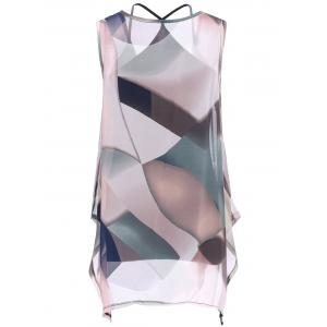 Tank Top and Colorful Print Asymmetrical Blouse -