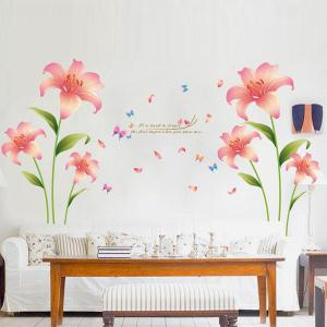 Fashion Pink Lilium Pattern Wall Sticker For Livingroom Bedroom Decoration - COLORMIX