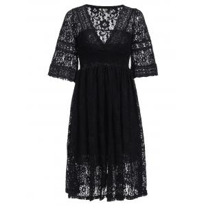 Fashionable Plunging Neck Hollow Out Pure Color Women's Dress -