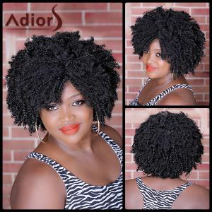 Shaggy Afro Curly Heat Resistant Synthetic Vogue Black Short Capless Wig For Women - Black Brown