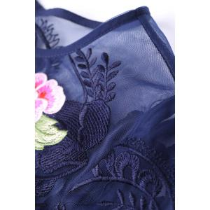 Round Collar Voile Floral Embroidery Dress -