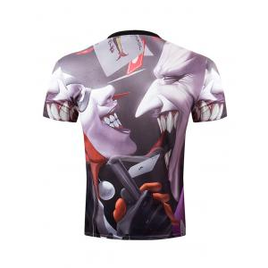 Casual Pullover Round Collar 3D Devil Printed T-Shirt For Men -