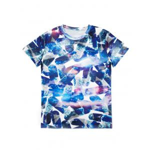 Casual Pullover Round Collar 3D Pill Printed T-Shirt For Men - COLORMIX M